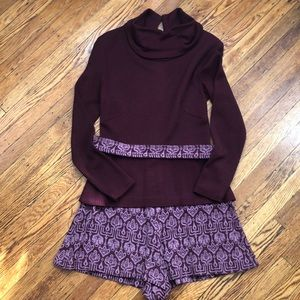Vintage Maroon and pronted romper - size 6
